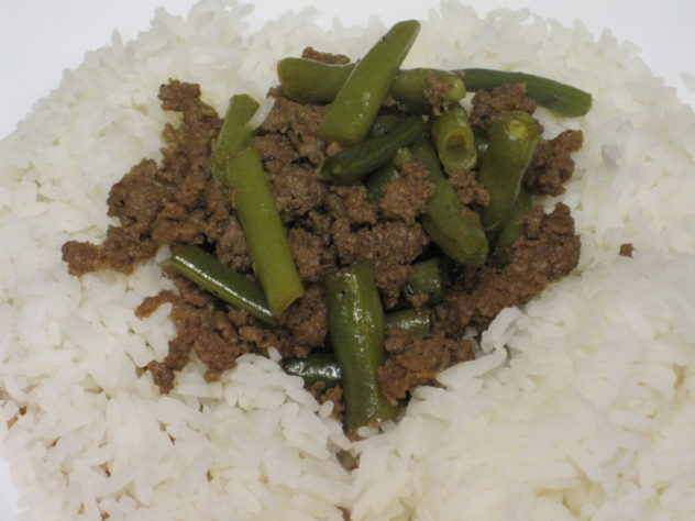 Ground Beef and Green Bean Teriyaki served over rice