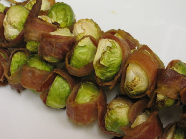 Bacon Wrapped Brussel Sprout Skewers