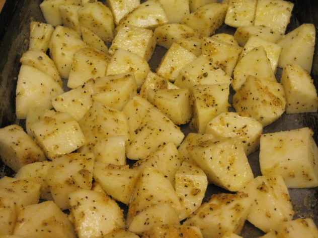 Lemon Pepper Roasted Potatoes Ready for the oven