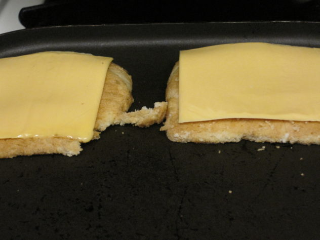 A grilled cheese sandwih made on heels of bread