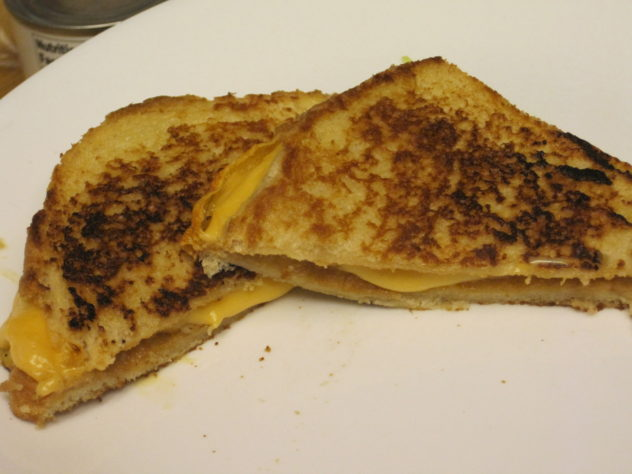 Using heels of bread to make a grilled cheese sandwich.
