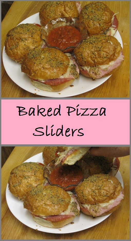 Baked Pizza Sliders--dinner rolls filled with pizza toppings, and brushed with a garlic, herb, and cheese butter. Delicious!