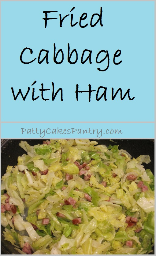 Cabbage is fried with ham, and onions to create a delcious side or entree.