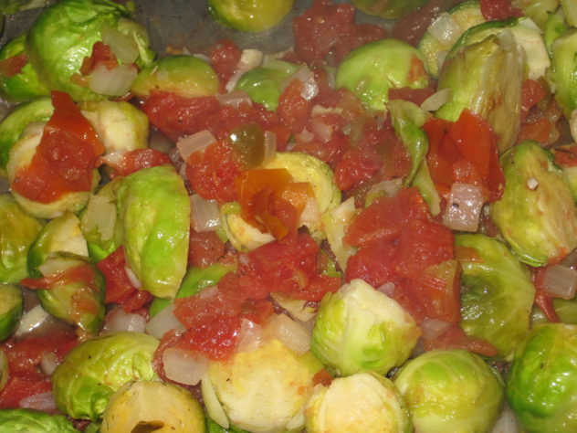 Spicy Brussel Sprouts and Tomatoes
