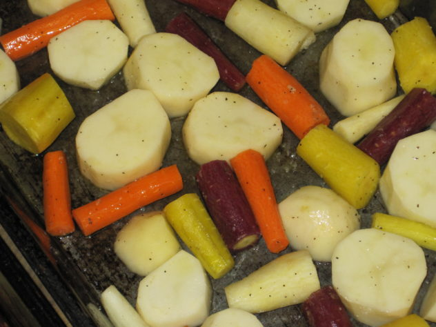 Oven Roasted Barbecued Chicken with Rainbow Carrots and Potatoes