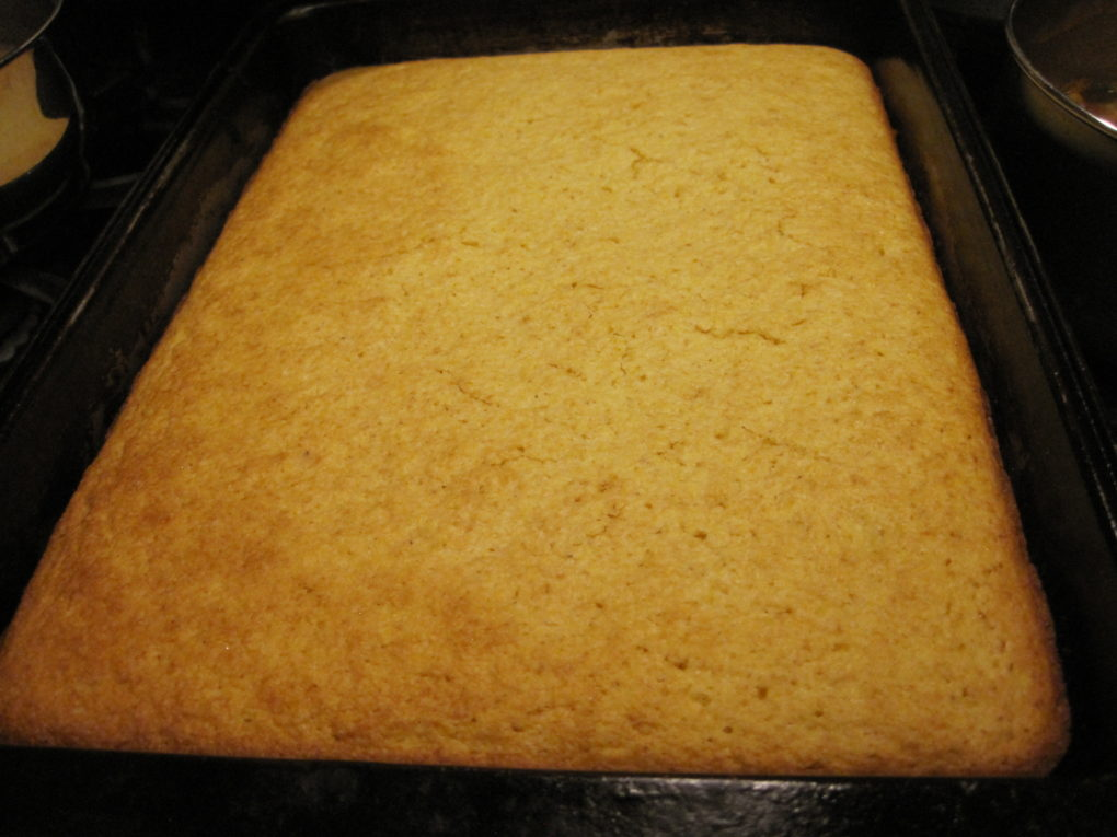 Corn Bread--A pan of eggless scratch made corn bread