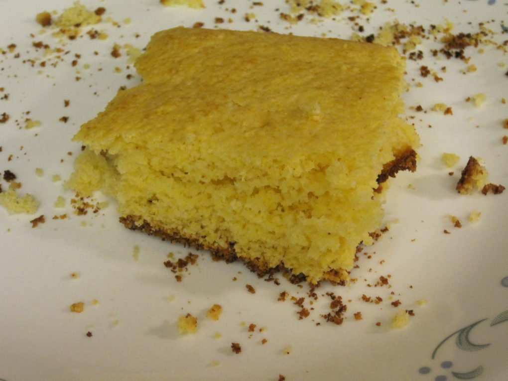 Corn Bread made with a chia egg and canned milk