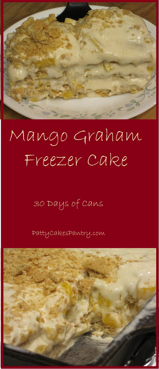 Mango Graham Freezer Cake--Graham crackers layered with fresh mango, sweetened condensed milk, and table cream make a delicious dessert.