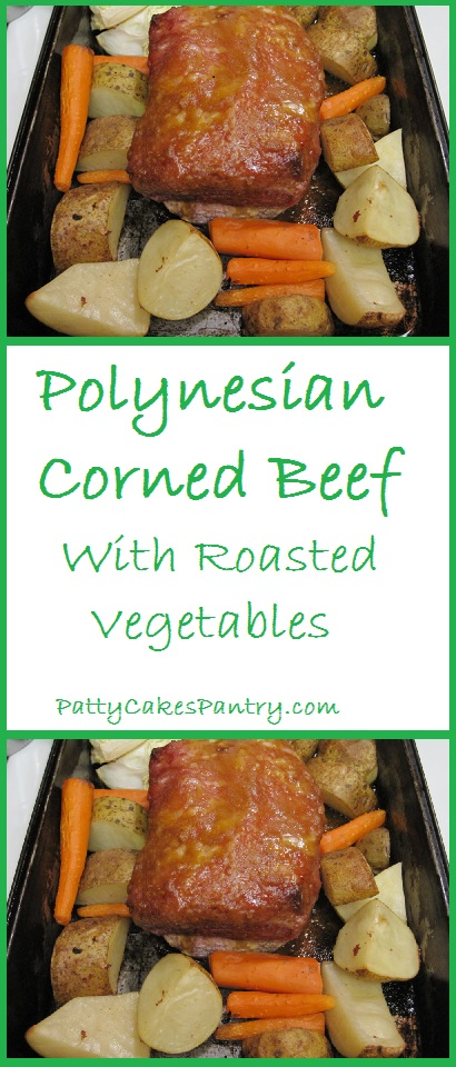 polynesian corned beef with roasted vegetables