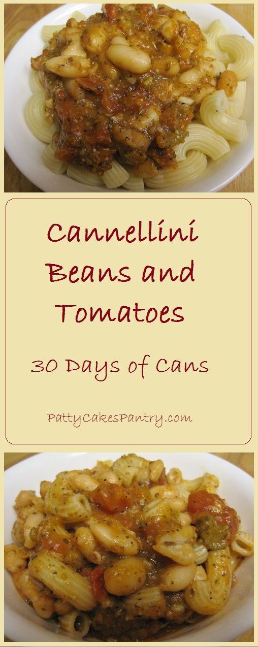 Cannellini Beans ans Tomatoes--Beans cooked in an Italian Seasond Tomato Sauce. Delicious alone or with pasta or rice