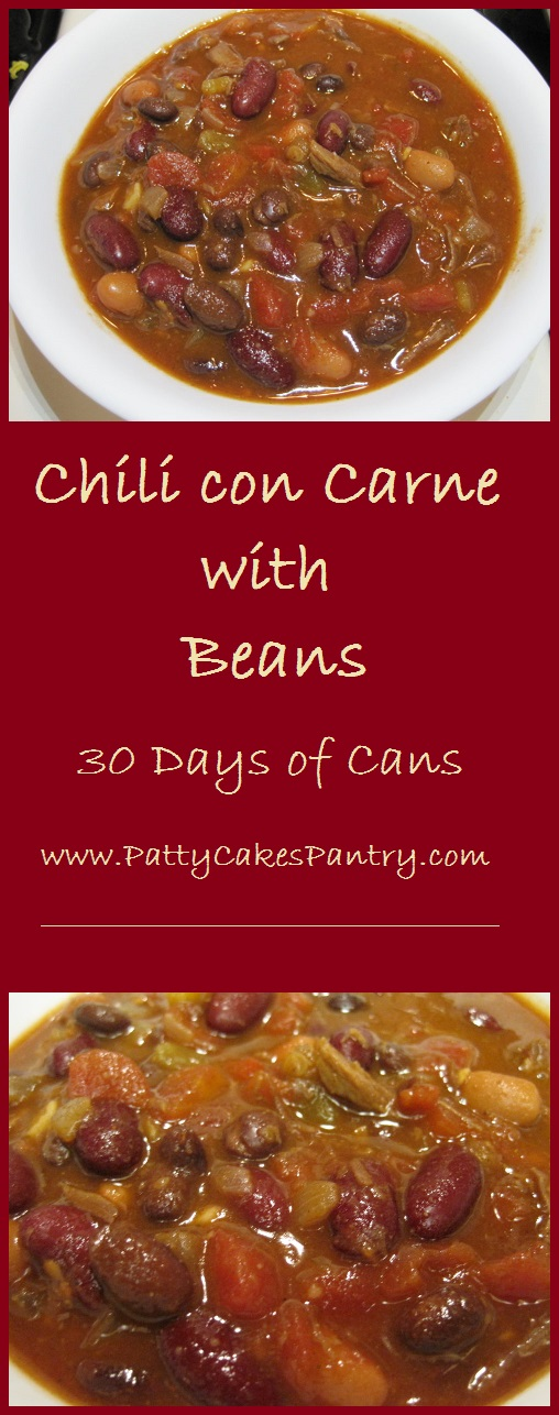 Chili con Carne with Beans--chopped onion and garlic combine with the contents of 9 cans to make this simple and delicious dish.