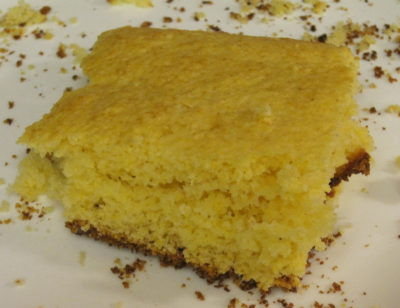 Corn Bread--made with a chia seed egg and canned milk