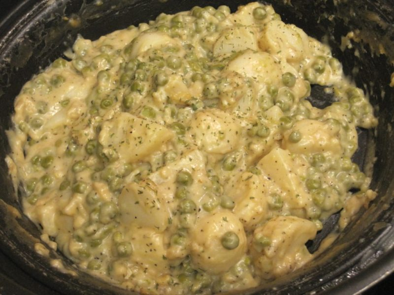 Creamed Peas and Potatoes made from cnned vegetables