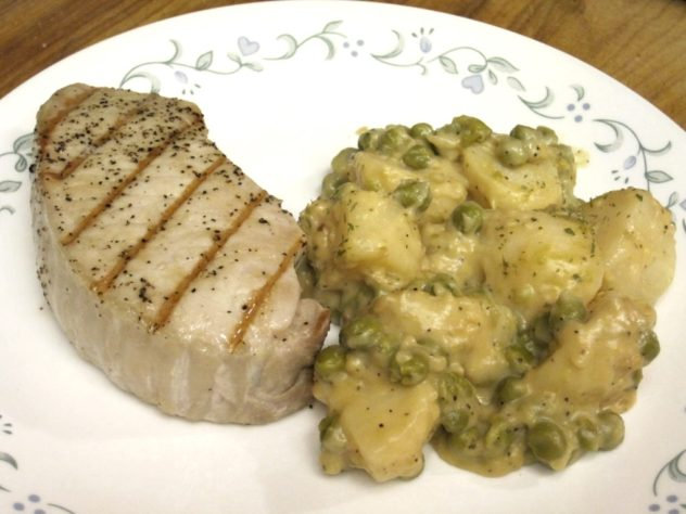 Creamed Peas and Potatoes made from canned peas and potatoes