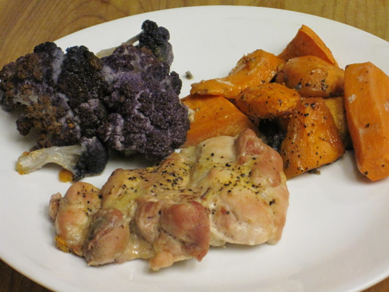 Roasted Chicken, Sweet Potatoes, and Cauliflower