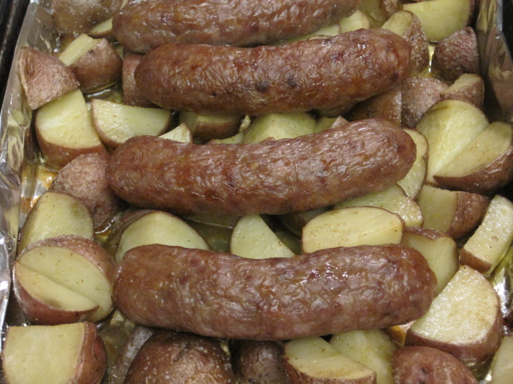 Roasted Bratwurst and Potaotes