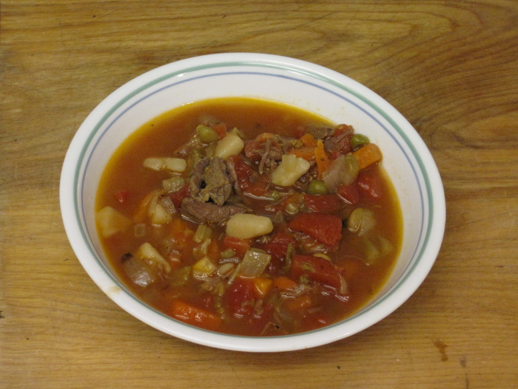 Vegetable Beef Soup--Simple and delicious made almost entireley from canned vegetables andf meat.