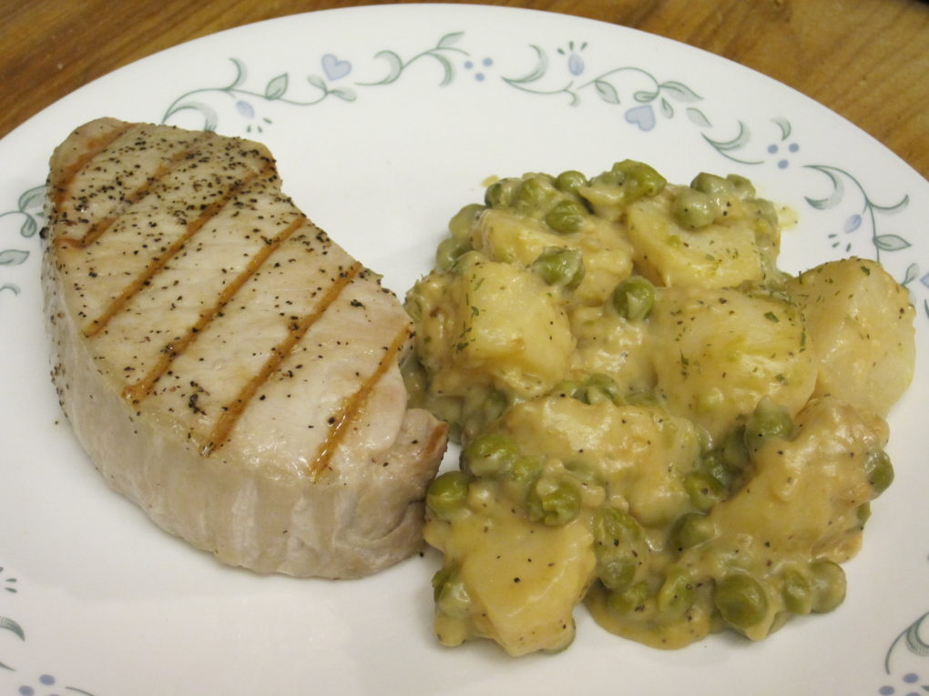 Creamed Peas and Potatoes from canned vegetables.