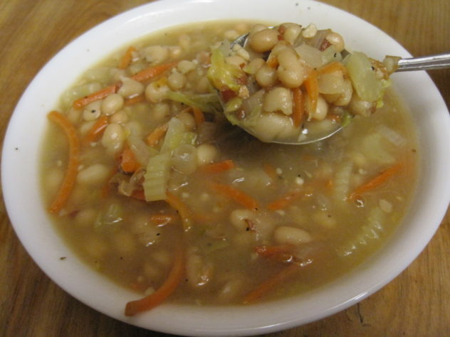 Navy Bean and Bacon Soup from Canned Beans