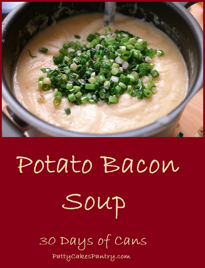 Potato Bacon Soup made from shelf stable items. Total Cost of Recipe: $8.83