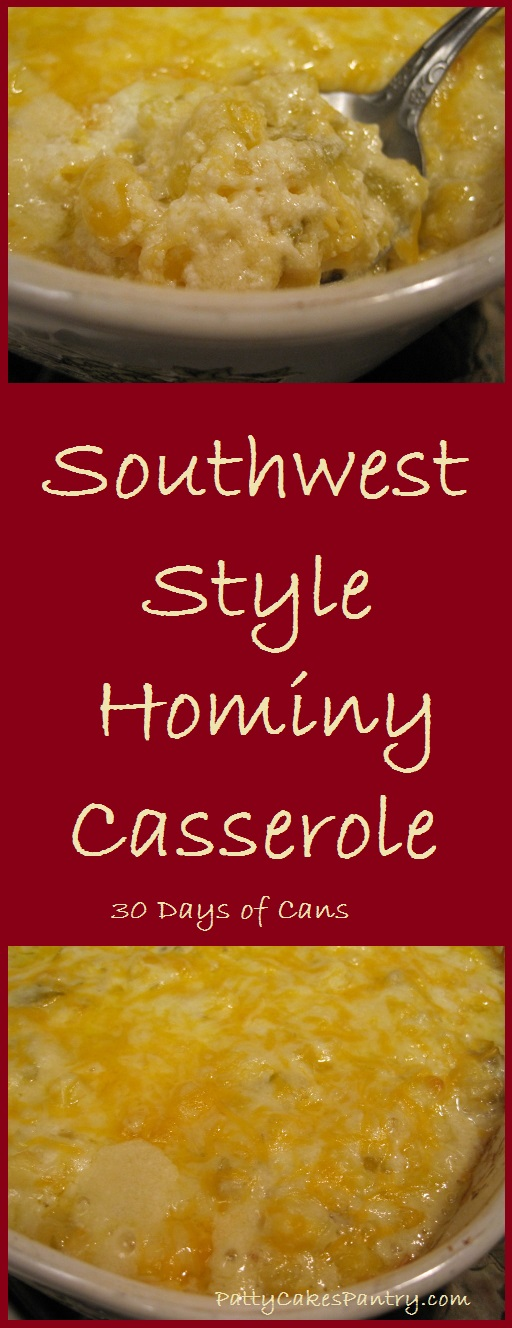 Southwest Style Hominy Casserole--4 ingredients mixed together in one pan before baking. Creamy and Delicious