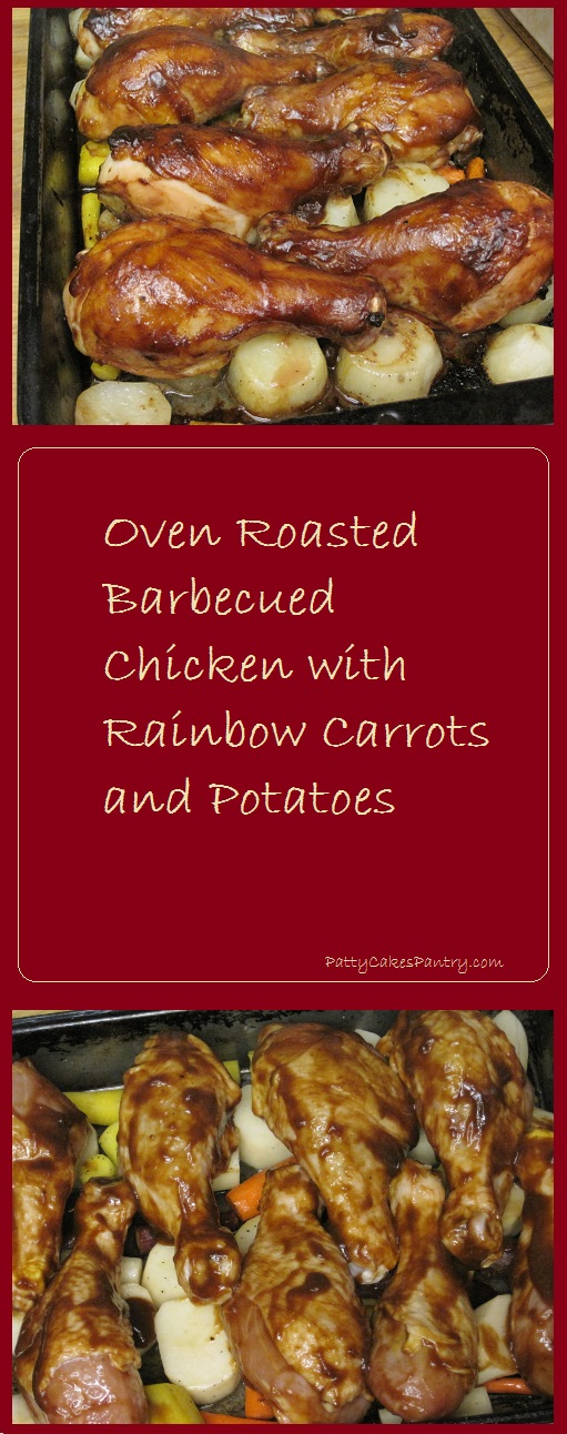 Oven Roasted Barbecued Chicken with Rainbow Carrots and Potatoes: A one pan meal. Total Cost of Meal = $5.07