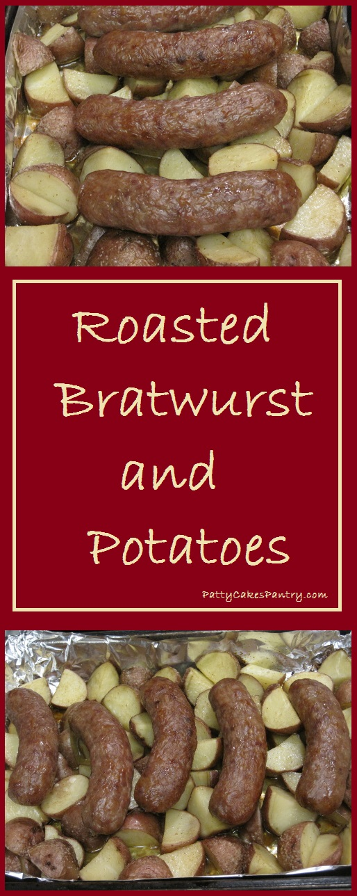 Roasted Bratwurst and Potatoes--a sheet pan dinner.  Total Cost of Recipe:  $4.90