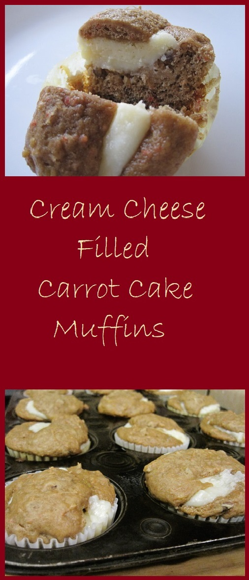 Cream cheese filled carrot cake muffins. Simple and delicious.