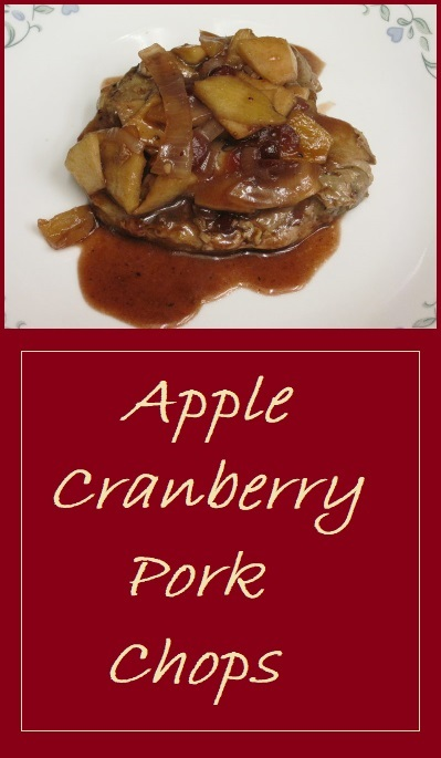 Apple Cranberry Pork Chops--Seared pork chops that are finished in a bed of apples, onions, and cranberries.