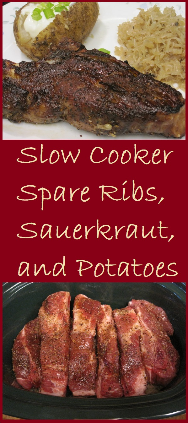 Slow Cooker Spare Ribs, Sauerkraut, and Potatoes--A complete meal, cooked in the slow cooker while you're away at work.