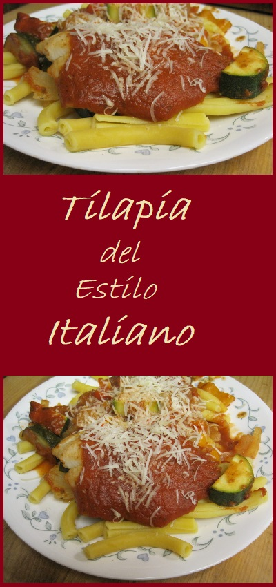 Italian Style Tilapia baked over a bed of vegetables and smothered in a rich tomato marinara sauce.