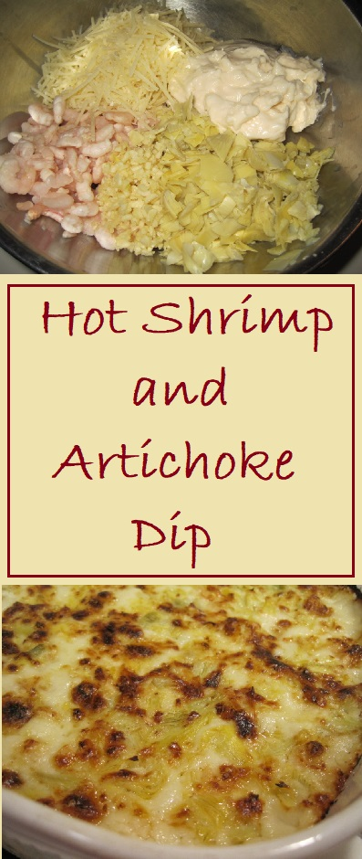 Hot Shrimp and Artichoke Dip made from 5 simple ingredients