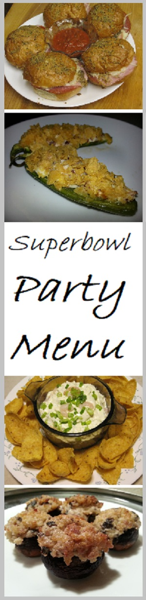 Superbowl Party Menu created by a man for other men.