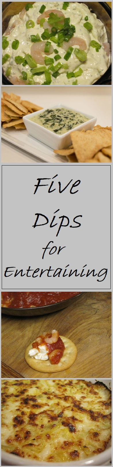 5 dipes for entertaining--each of these dips is easy to prepare and loaded with flavor.