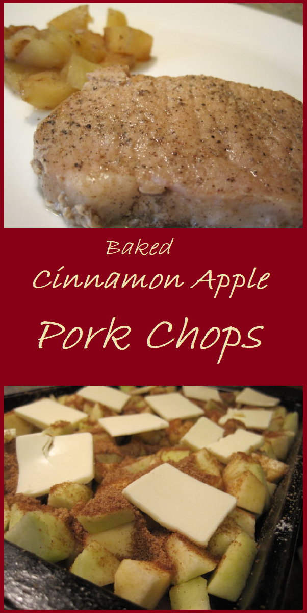Baked Cinnamon Apple Pork Chops are prepared in a single pan for easy clean up.