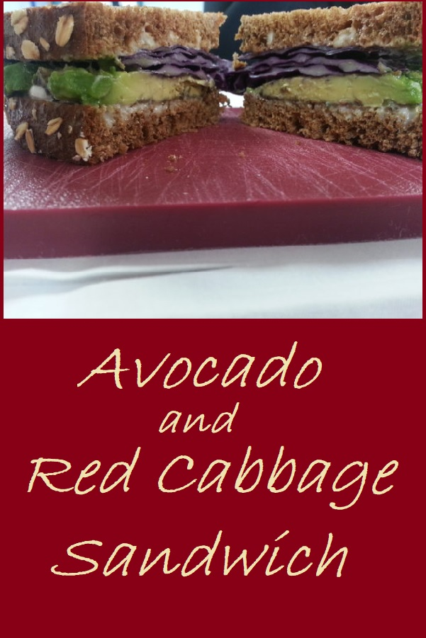 Avocado and Red Cabbage--A vegan sandwich option