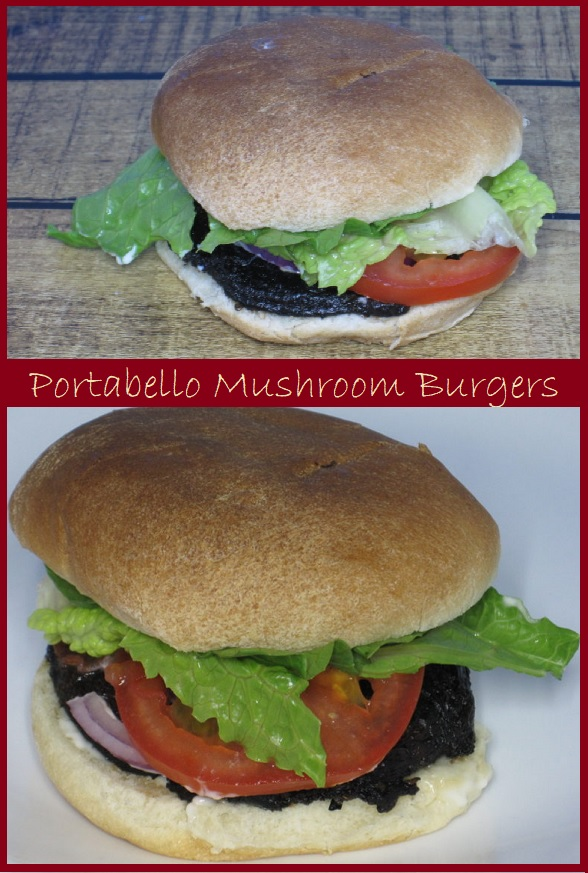 "Portabello Mushroom Burgers--are mushrooms allowed to rest in a flavorful marinade before grilling. Each Mushroom ""burger"" costs only about $0.88."