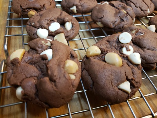 Devil's Food Cookies with white chocolate chips and macadamia nuts.