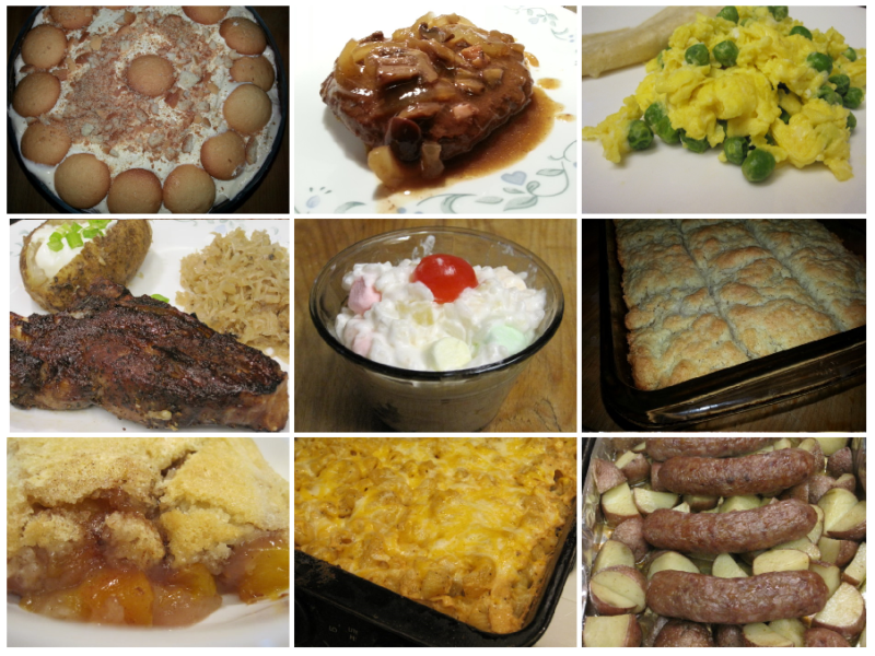 A collage of 9 photos arranged 3X3. On the top there is a photo of banana pudding, a photo of salisbury fake, and a photo of scrambled eggs with peas. The second row shows a plated rib with sauerkraut, a cup of glorified rice, and a pan of 4 ingredient butter biscuits. The bottom row is a piece of nectarine cobbler, a pan of macaroni and cheese. The final photo in the bottom right is a photo of roasted bratwurst and potatoes