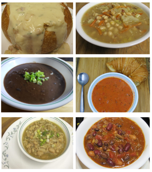 12 Soups from the Pantry--Soups prepared using pantry staples.