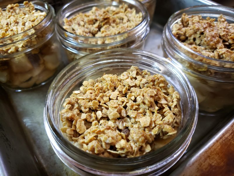 Individual Pear Crisp in a jar