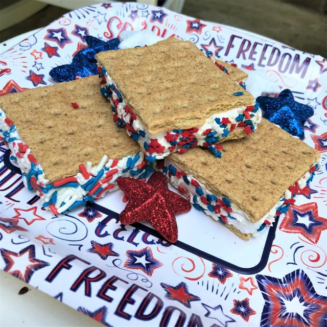 Patriotic Red, White and Blue Graham Cracker Frozen Treat