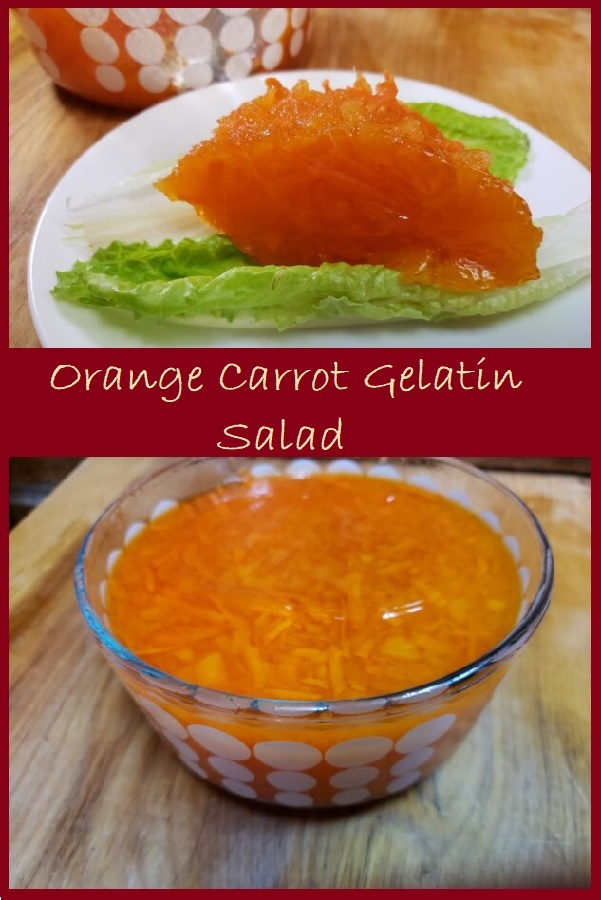 Orange Carrot Gelatin Salad- a single serving on a plate atop lettuce leaves, and a bowl filled with the gelled salad