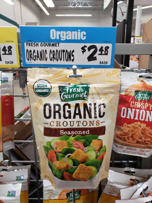 Seasoned Croutons on a display in the store