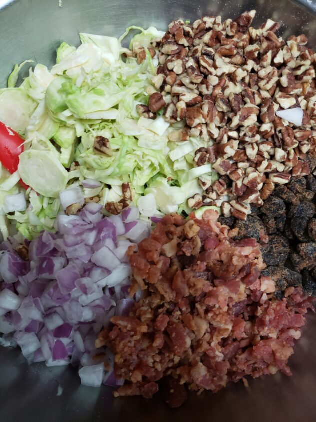 A bowl containing sliced burssel sprouts, chopped pecans, dried cranberries, chopped bacon , and chopped red onions all arranged in neat piles around the bowl.