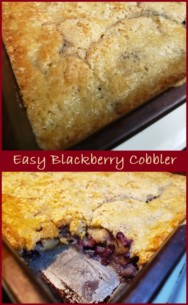 """A two photo collage. The top photo shows a top view of the freshly baked cobbler with a golden crust. There are cracks in the top of the cobbler hinting at the filling underneath. The bottom photo shows the baked Blackberry cobbler has a golden crust. The front corner of the cobbler has been removed to expose the filling with visible blackberries in a gooey filling. The collage has a burgundy colored border as a frame. Across teh middle between the to photos is a burgundy colored banner with cream colored writing which says """"Easy Blackberry Cobbler."""""""