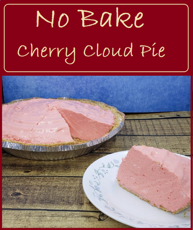 """A piece of a fluffy pink pie is sitting on a white plate in front of the full plate of pie with one piece missing. The fluffy pink filling is heaped high in the pie. On the top of the photo are the words """"No Bake Cherry Cloud Pie"""""""