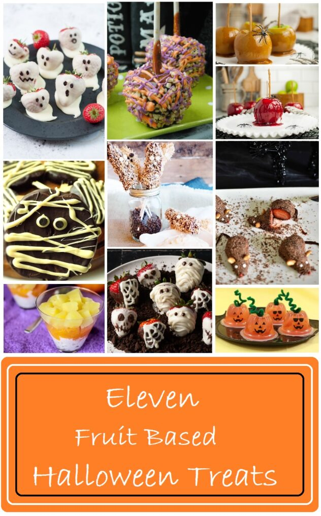 """A collage that contains pictures of candied apples coated in red sugar candy, caramel apples (both plain and coated in candy and nuts), strawberries covered with chocolate and decorated like ghosts and skulls. A parfait of white cream, orange , and yellow fruit, and commercial fruit cups filled with an orange colored fruit and decorated to look like jack-o-lanterns.  On the bottom of the collage is an Orange, black, and white colored banner that reads """"Eleven Fruit Based Halloween Treats."""""""