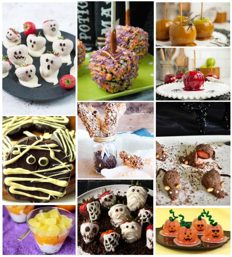 A collage that contains pictures of candied apples coated in red sugar candy, caramel apples (both plain and coated in candy and nuts), strawberries covered with chocolate and decorated like ghosts and skulls. A parfait of white cream, orange , and yellow fruit, and commercial fruit cups filled with an orang colored fruit and decorated to look like jack-o-lanters.