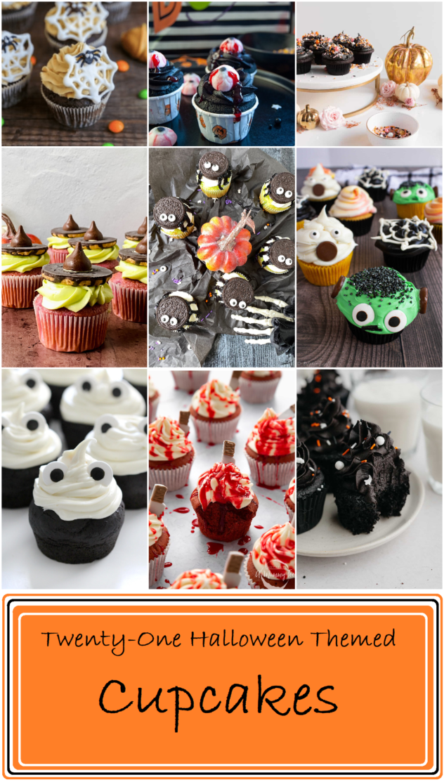 """A collage of Halloween themed cupcakes. There are cupcakes that look like Frankenstein, cupcakes that look like ghosts, a cupcake with a bloody eyeball, and a cupcake drizzled with blood. Another cupcake has a witches hat on top and another has a delicate spider web made from white chocolate. On the bottom inside a rectangle with an orange background are the words """"Twenty-one Halloween Themed cupcakes"""" written in black."""